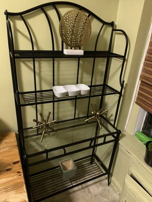 Elegant Black Metal Bakers Rack Kitchen Storage Unit with Glass Shelf for Sale in New York, NY