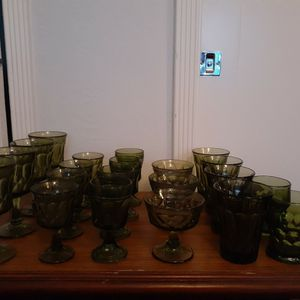 Circa 1960 Green Goblets, Glasses And Dessert Dishes for Sale in Antioch, CA