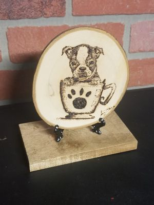 Wood art-pup in a cup for Sale in New Britain, CT