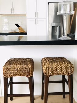 2 Exc Cond. Pottery Barn Rattan Seagrass Wood Stools purchased new $230 each, selling for $145 Each for Sale in San Clemente,  CA