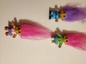 2 Pink Hair Girl Trolls and one Purple Haired Boy for Sale in Downey, CA
