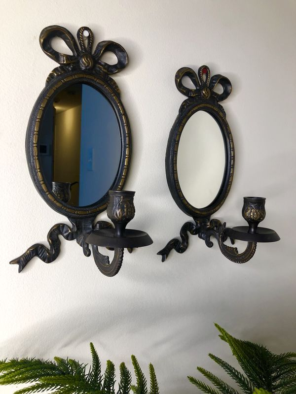 Vintage Wall Bow Mirror With Candle Holder Set Of 2 For