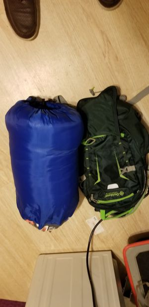 Glaciers edge sleeping bag and Outdoor products backpack for Sale in Evanston, IL