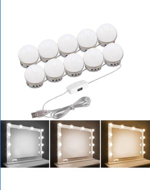 Hollywood Style Vanity Mirror Lights Kit, Adjustable Color and Brightness with 10 LED Light Bulbs, Lighting Fixture Strip for Makeup Vanity Table Set for Sale in Austin, TX
