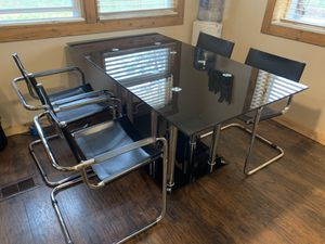 Black Glass & Chrome table with 6 Black Leather & Chrome Chairs. for Sale in Harrison, MI