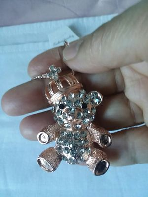 Beautiful TEDDY BEAR Necklace with Crystals on a Long Gold Color Chain. for Sale in The Bronx, NY