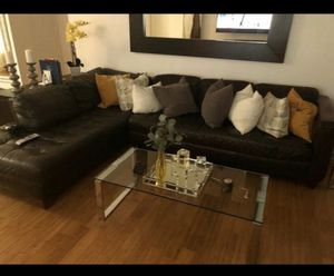 Leather couch brown for Sale in Miami, FL