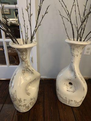 """25"""" High Heavy Ceramic Vases - pair for Sale in Milton, DE"""