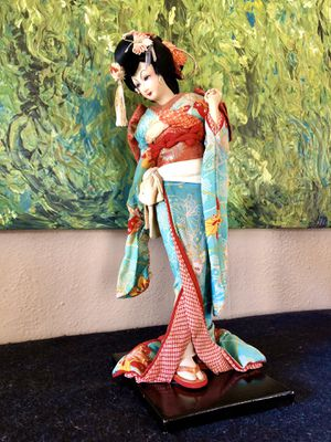 Vintage Japanese geisha fabric doll on stand for Sale in Sioux Falls, SD