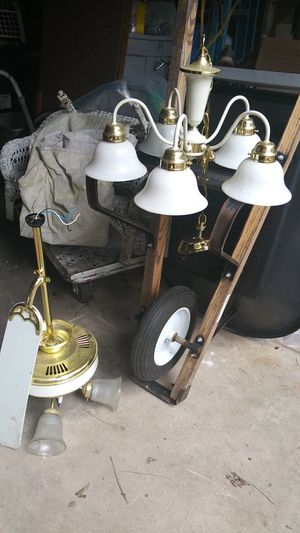 Chandelier and ceiling fan to match works great for Sale in Spring, TX