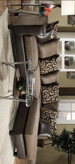 Dora brown sectional sofa finance available for Sale in Houston, TX