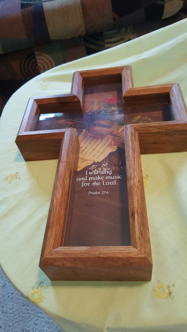 Decorative wooden and glass cross