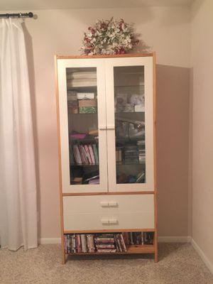 IKEA pine and white double glass door and 2 drawer display cabinet! Immaculate condition! $130!! for Sale in Houston, TX