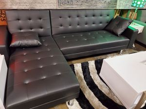 Sectional Sofa Bed, Black Leather for Sale in Garden Grove, CA