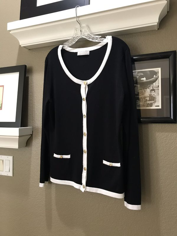 Carolyn Taylor black and white cardigan, size large