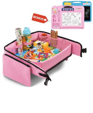 Toddler Travel Tray (Pink) + Bonus 2 in 1 Magnetic Drawing Board & Chalkboard |Car Seat Tray for Kids | Car Seat Travel Trays | Lap Desk, Activity Tr for Sale in Vernon, CA
