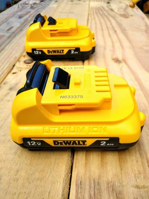 TWO DeWalt 12 Volt Batteries With Power Gauges (2.0 ah) for Sale in Tacoma, WA