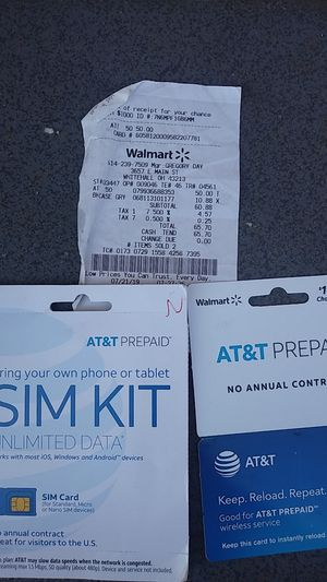 AT&T SIM card kit with reloadable prepaid card to $50 on selling both so 40 bucks for Sale in Boyce, LA
