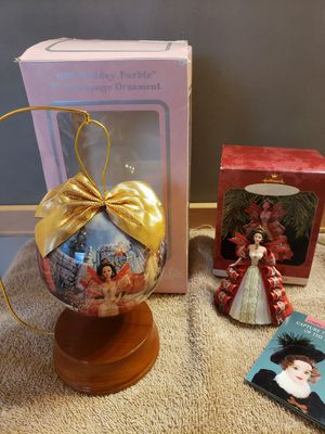 2 1997 Barbie Ornaments: Decoupage Ornament w/ stand and Hallmark Red Dress for Sale in Willow Spring, NC