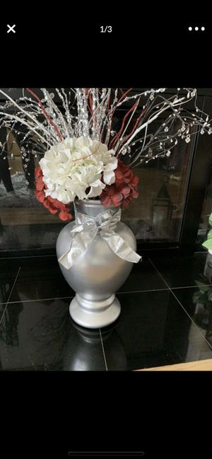 Silver vase with flowers for Sale in Pawtucket, RI