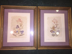 Handmade framed floral artwork - real dried flowers! for Sale in Houston, TX