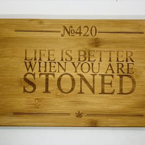 420 life laser engraved bamboo high quality cuttingboard valentines gift for Sale in Los Angeles, CA