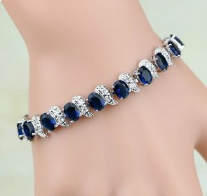 S925 Stamped Sterling Silver Simulated Diamond and Blue Sapphire Bracelet for Sale in Silver Spring, MD