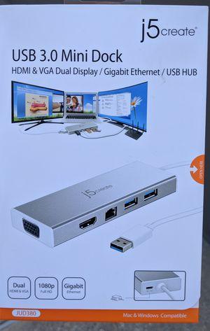 J5create USB 3.0 Mini Dock HDMI & VGA Dual Display / Gigabit Ethernet / USB HUB 15 for Sale in Houston, TX
