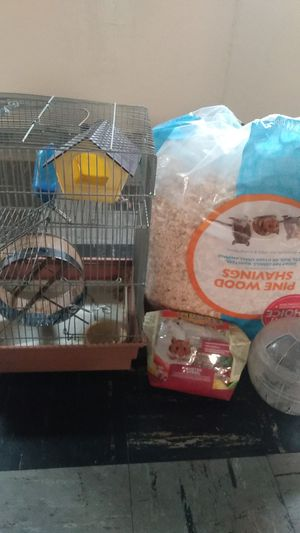 Hamster cage, wheel, food, bedding, ball, bowl, and house. for Sale in Burbank, IL