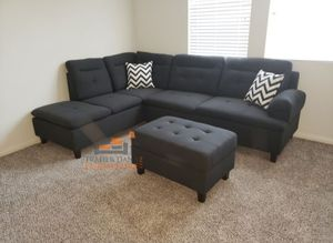 Brand New Charcoal Linen Sectional Sofa Couch + Storage Ottoman for Sale in Silver Spring, MD