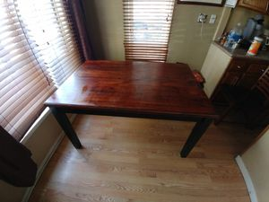 Table with leaf and 3 chairs few marks but still very nice table. for Sale in Fresno, CA