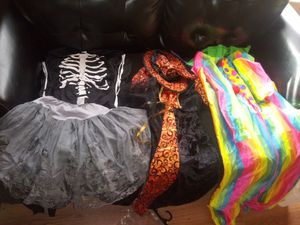 2 and 3 dlls clown SZ 10-12, skeleton girl SZ 10-12, witch SZ 5, cinderella dresses SZ 4, mask 1 dlls each. Lady bug 12 to 24 month for Sale in Yuma, AZ