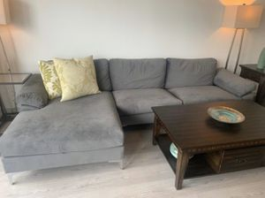 mid century modern grey sectional sofa couch for Sale in Farmington Hills, MI