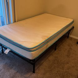 Metal Twin Bed Frame + Mattress for Sale in Silver Spring,  MD