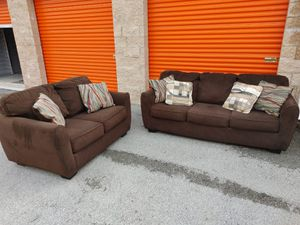 Sofa Set - Brown Color Sofa / Couch + Loveseat in Very Good Condition - DELIVERY NEGOTIABLE for Sale in Boca Raton, FL