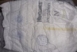 Newborn diapers, Huggies little snugglers,75. Huggies,33. Pampers 51.,And the one's with the panda's .6. All Newborn opened but in boxes. for Sale in Oregon City, OR
