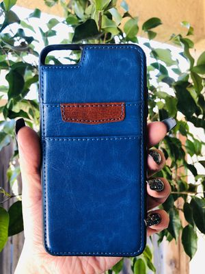Brand new cool iphone 6+ PLUS case cover rubber leather wallet mens guys hypebeast hypebae womens girls hype swag BLUE & BROWN DESIGNER for Sale in San Bernardino, CA
