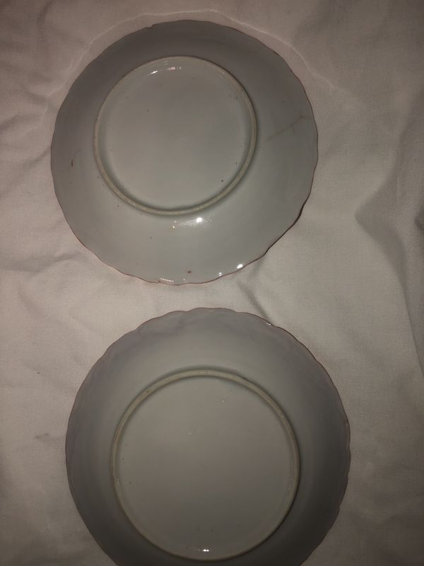 Vintage porcelain red and white decorative plates