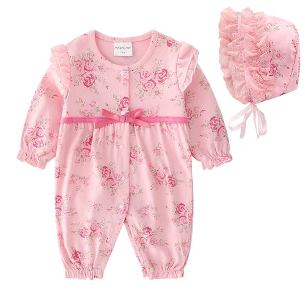 NEW Infant One-Piece Baby Clothes Baby Girl Romper Hat Set 3-6 month Outfit