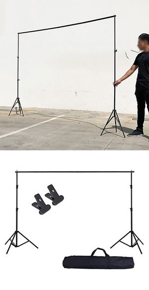 Brand New $30 Adjustable Backdrop Stand (6.5ft tall x 10ft wide) Photo Photography Background w/ Carry Bag & 2 Clip for Sale in Downey, CA