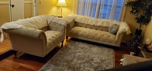 Very quality fabric sofa and loveseat with 6 pillows for Sale in MONTGOMRY VLG, MD