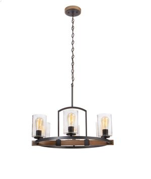Home Decorators Collection Newbury Manor Collection 25 in. 6-Light Vintage Bronze Chandelier with Clear Seeded Glass Shades for Sale in Moreno Valley, CA