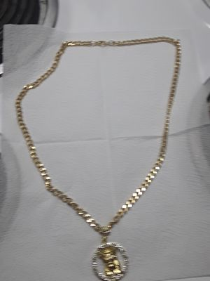 30 inch gold plated link chain dipped in 14kt gold with round cz gold plated jesus medallion. Great gift 90 obo for Sale in Mechanicsburg, PA