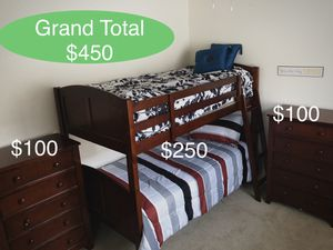 Bunk Bed w/ Trundle & 2 Dressers for Sale in Phoenix, AZ