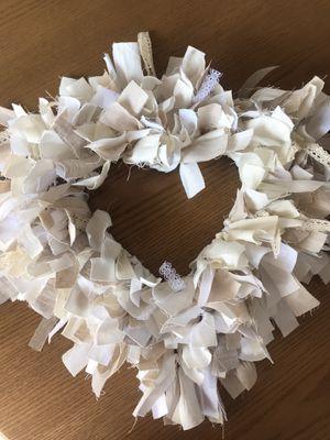 Shabby chic/farmhouse heart rag wreath for Sale in Gardena, CA