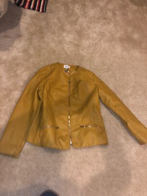 Womens large yellow leather jacket culture for Sale in Clarksburg, MD