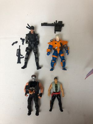 Terminator toy. Cable action figure, metal gear solid (solid snake) and Bruce for Sale in Covina, CA