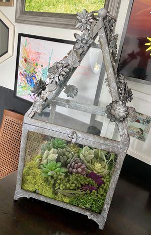 Galvanized metal glass terrarium with faux succulents for Sale in Saint CLR SHORES, MI
