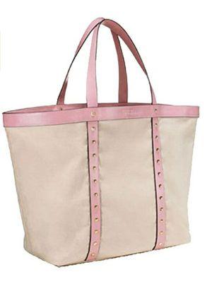 Victoria's Secret 2017 Large Canvas Tote Shoulder Bag Pink Studded Faux Leather for Sale in Sudley Springs, VA