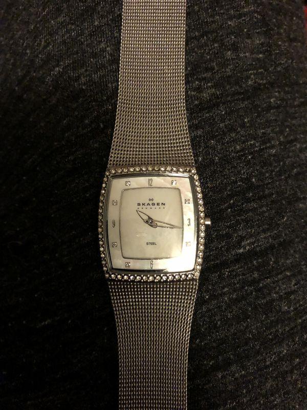 Skagen Denmark women's mother of pearl wrist watch